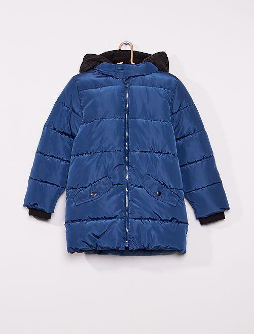 Anorak largo con capucha                     azul