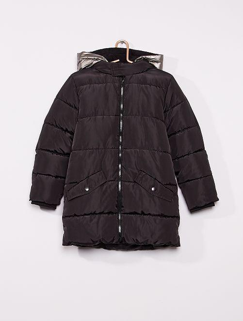 Anorak largo con capucha reflectante                             negro
