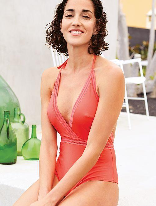 Bañador con detalles calados                             ROSA Mujer talla 34 a 48