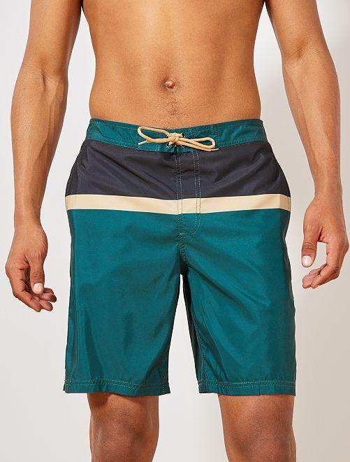 Bañador tipo bermudas colorblock                                         verde pino/negro/beige Hombre