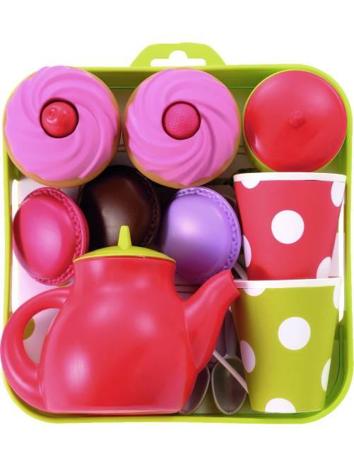 Bandeja con servicio de té y pasteles                             multicolor