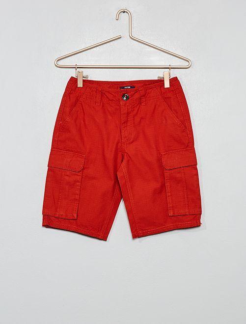 Bermuda cargo de algodón puro                                                     naranja rojo