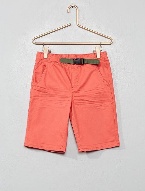Bermudas con cinturón de clip                                         rosa naranja