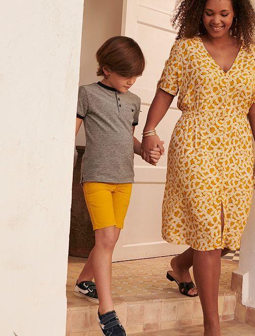 Bermudas con cinturón de esparto                             amarillo bronce