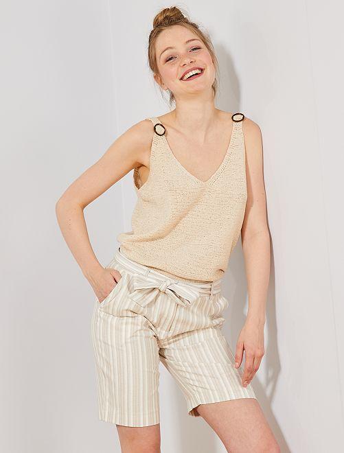 Bermudas de algodón y lino                                         AZUL Mujer talla 34 a 48