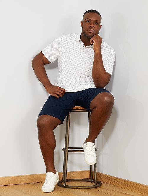 Bermudas de algodón y lino                                         AZUL Tallas grandes hombre
