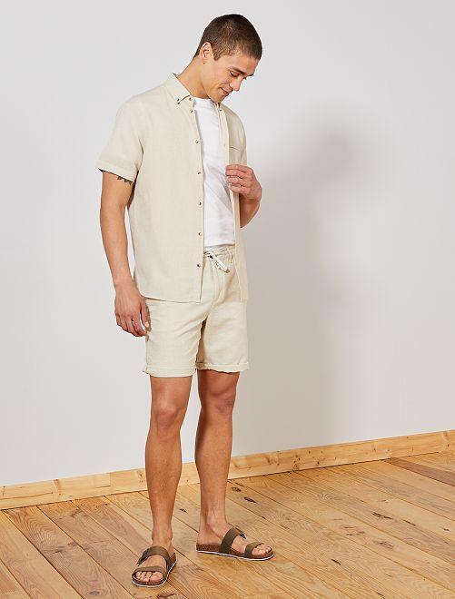 Bermudas de algodón y lino                                         BEIGE Hombre