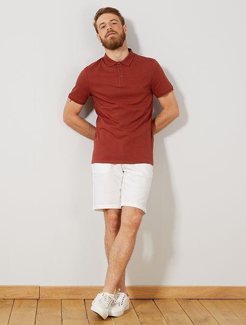 Bermudas de algodón y lino                                                                 blanco Hombre
