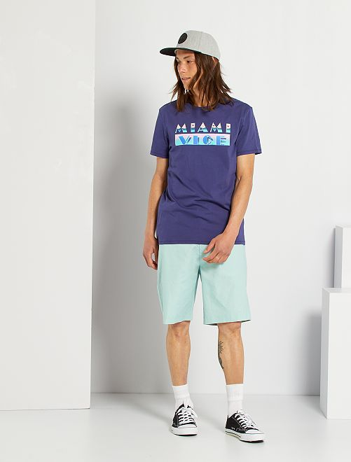 Bermudas de lino y algodón                                         azul