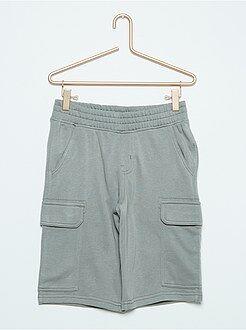 Bermudas, shorts - Bermudas grises de felpa estilo cargo