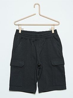 Bermudas, shorts - Bermudas negras de felpa estilo cargo