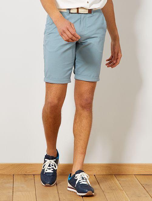 Bermudas tipo chino + cinturón                                                                                 azul gris Hombre