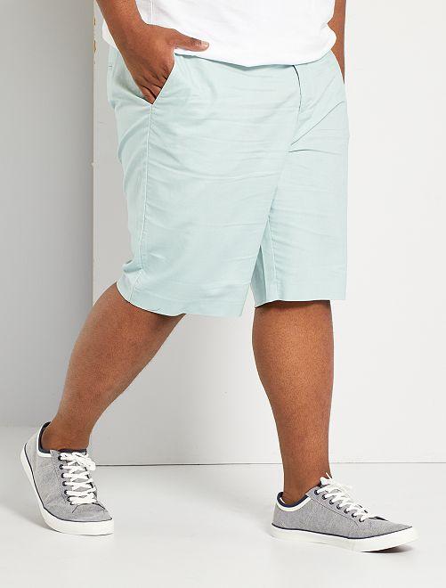 Bermudas tipo chino de algodón y lino                             azul