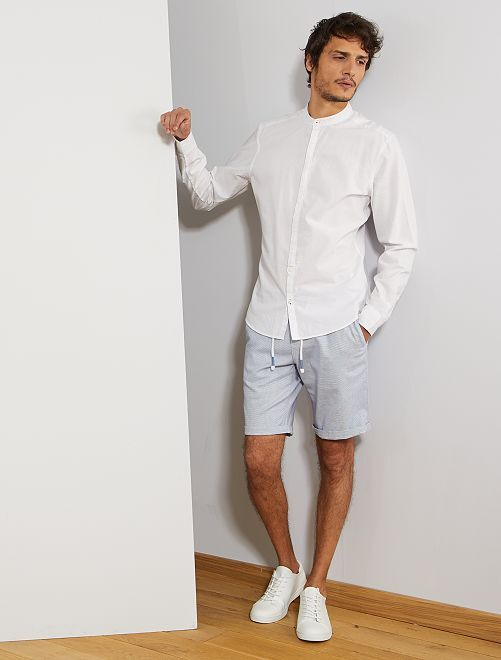 Bermudas tipo chino de piqué bicolor                             AZUL Hombre
