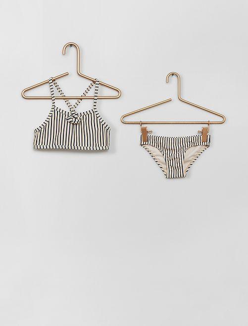 Bikini de rayas                             beige/azul
