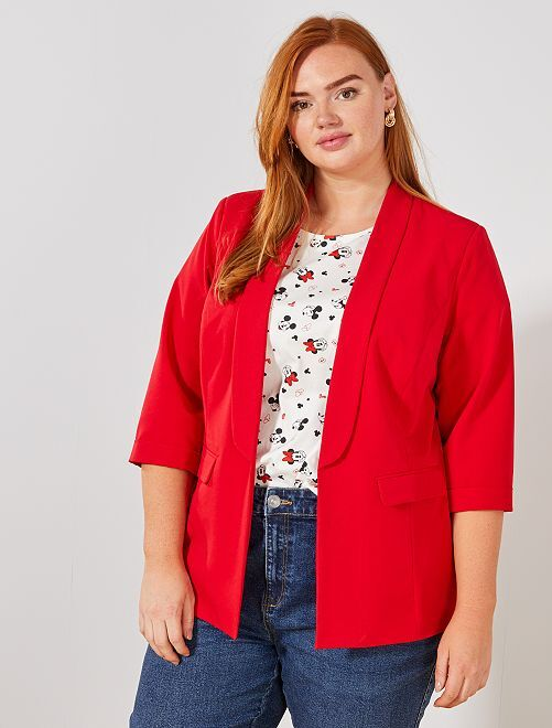 Blazer sin botones                                                     rojo Tallas grandes mujer