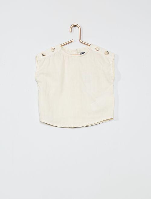 Blusa 100 % algodón sin mangas                             BLANCO