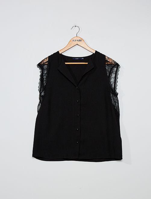 Blusa abotonada con detalle de encaje                                         negro
