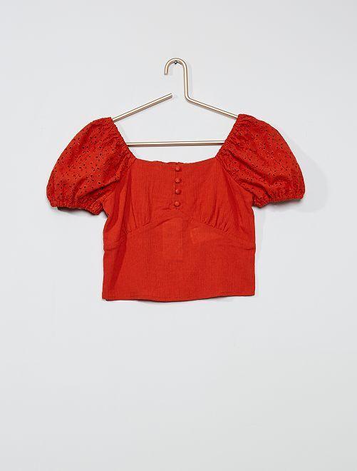 Blusa bardot de crepé                             NARANJA