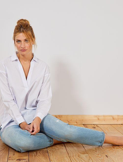 Blusa camisera de popelina                             BLANCO Mujer talla 34 a 48