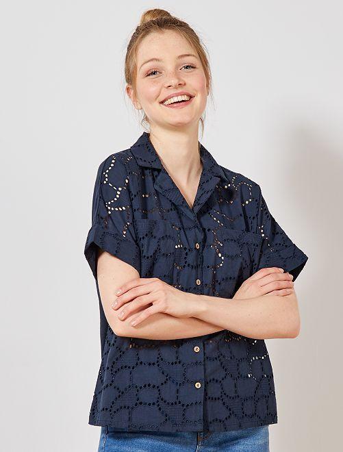 Blusa con bordado inglés                                         AZUL Mujer talla 34 a 48