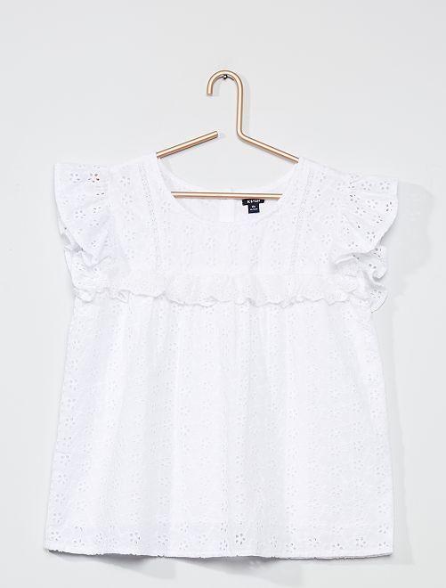 Blusa con bordado inglés                                         blanco