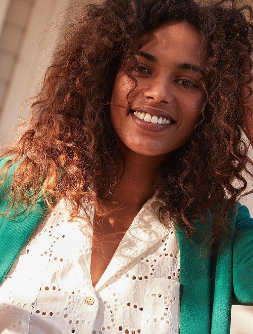 Blusa con bordado inglés                                         blanco nieve Mujer talla 34 a 48