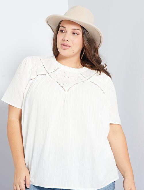 Blusa con bordado inglés                                         blanco nieve