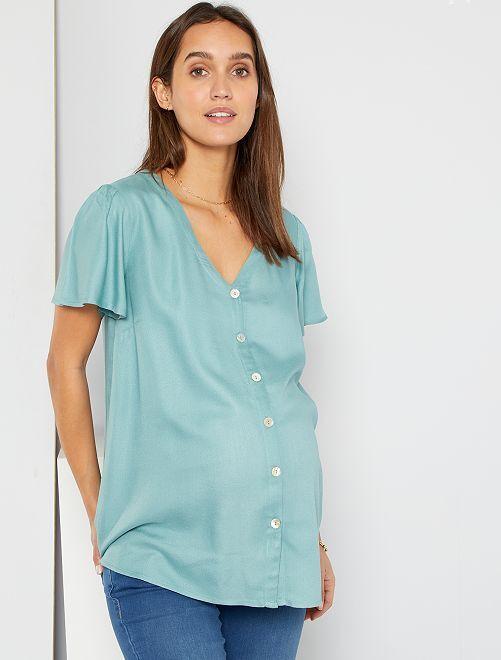 Blusa con botones                                         azul