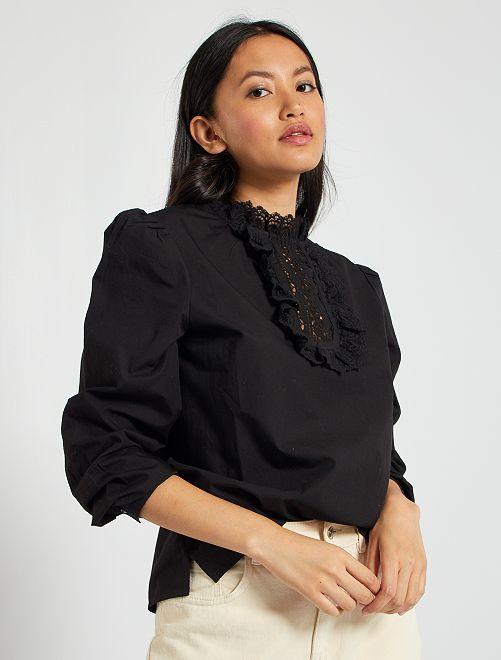 Blusa con cuello macramé                                                     negro