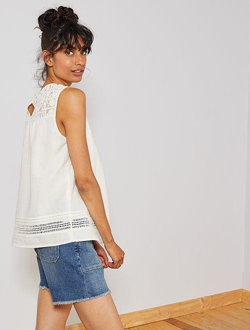 Blusa con detalle de macramé                             blanco nieve Mujer talla 34 a 48