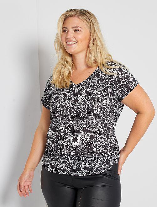 Blusa con detalle trasero                             negro/blanco