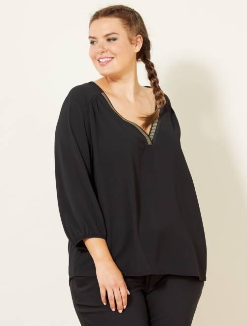 Blusa con escote de pico de fantasía                                         negro Tallas grandes mujer