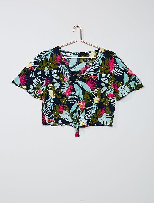 Blusa con estampado 'tropical'                             AZUL