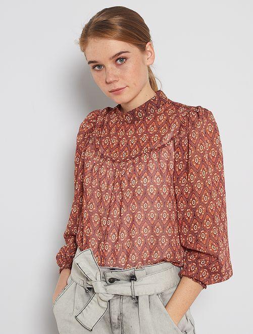 Blusa con estampado vintage                             BEIGE