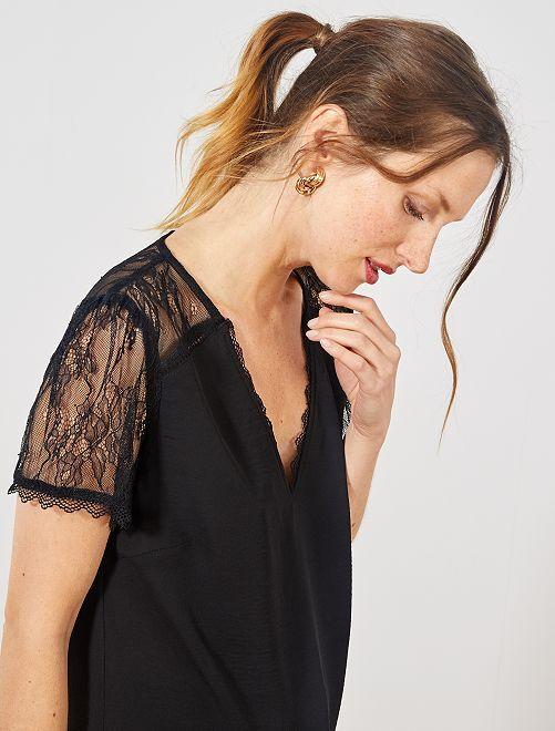 Blusa con mangas y parte trasera de encaje                                             negro