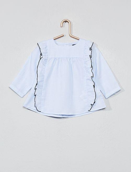 Blusa con volantes                             azul Bebé niña