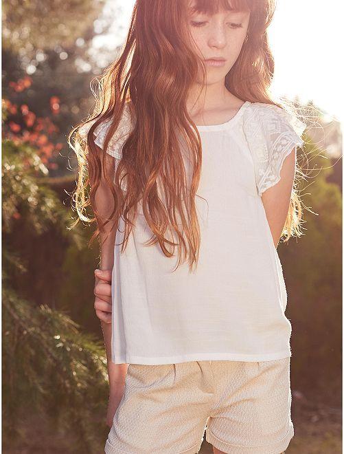 Blusa con volantes                                                     blanco nieve Chica