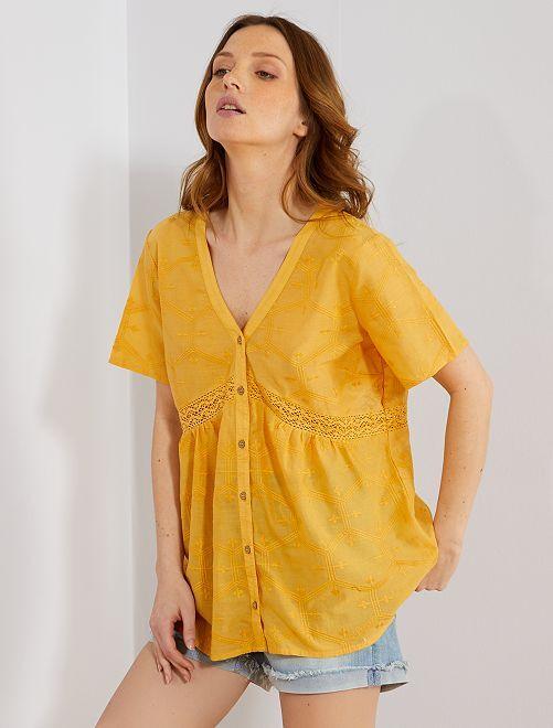 Blusa de algodón puro con bordado y macramé                                                                 AMARILLO Mujer talla 34 a 48