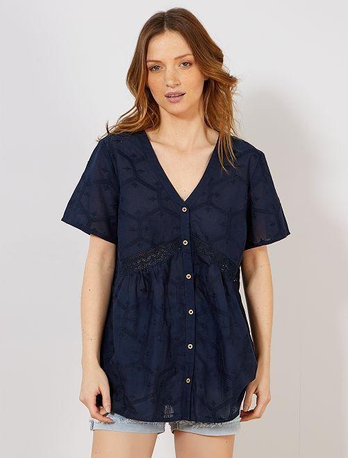 Blusa de algodón puro con bordado y macramé                                                                 AZUL Mujer talla 34 a 48