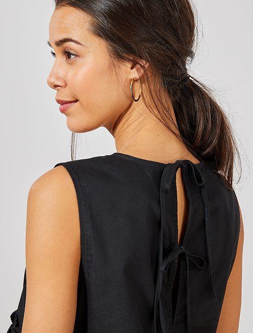Blusa de algodón puro                             negro Mujer talla 34 a 48