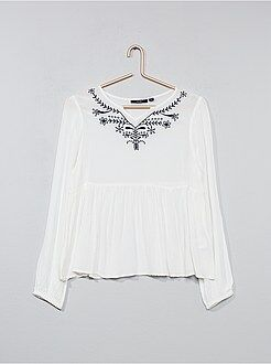 Camisas, blusas - Blusa de crespón bordada - Kiabi
