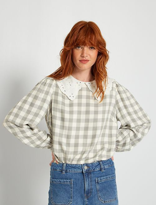 Blusa de cuadros                             GRIS