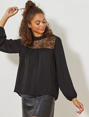 Blusa de cuello alto con parte superior de encaje - Kiabi