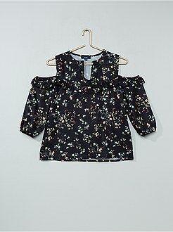 Camisas, blusas - Blusa de flores con hombros descubiertos