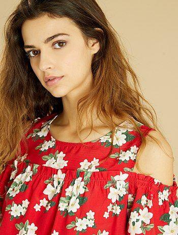 Blusa de flores con hombros descubiertos - Kiabi