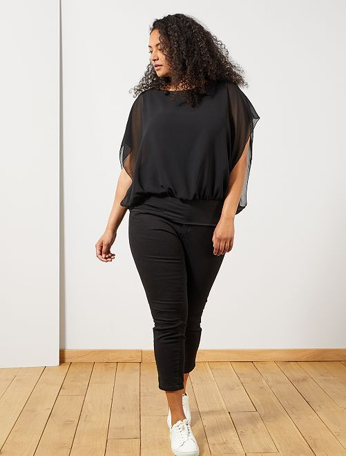 Blusa de gasa con cintura entallada                             negro