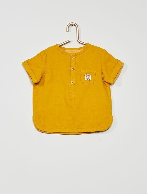 Blusa de gasa de algodón                             amarillo bronce