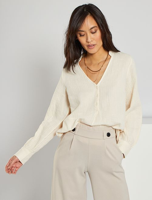 Blusa de gasa de algodón                             BLANCO