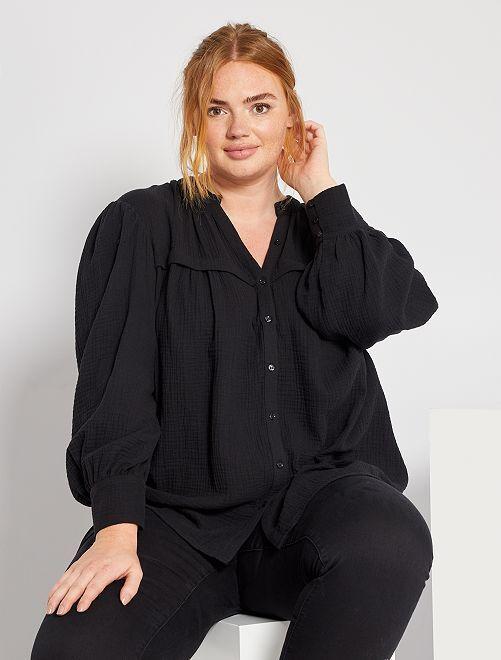 Blusa de gasa de algodón                                         negro